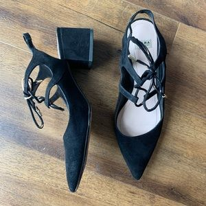 Zara Trafaluc black suede pointed Slingback heels